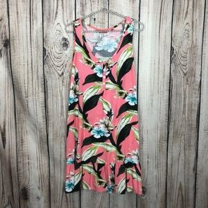 Tommy Bahama Relax Pink Floral Hawaiian Dress M